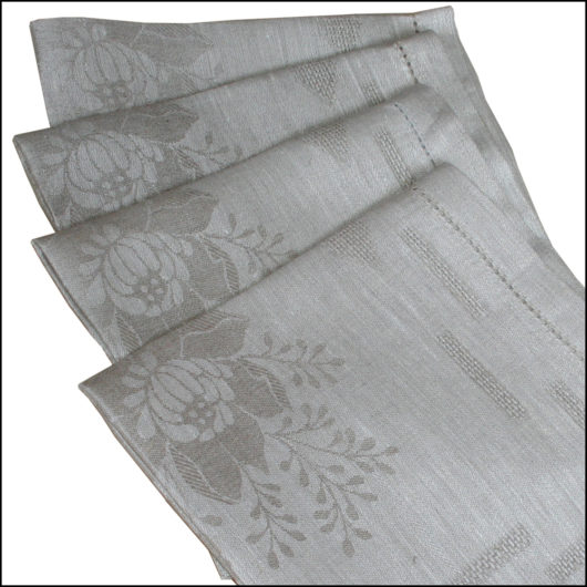 Linen dinner napkins flowers grey